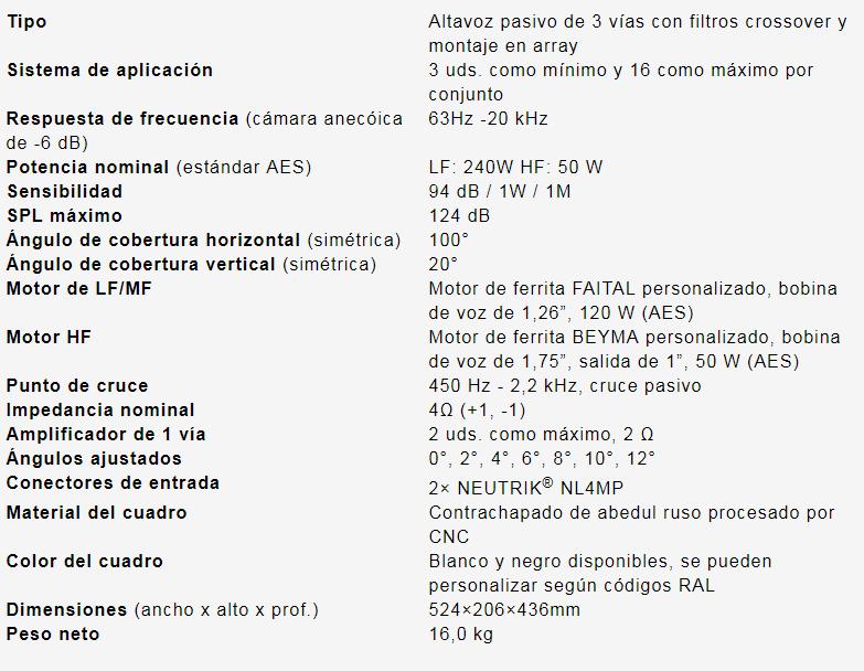 especificaciones kla26 array