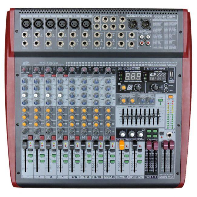 Consola Pa Pro Audio MX-12USB 12Ch 6Mic 4St