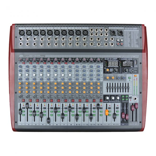 Consola Pa Pro Audio MX-16USB 16Ch 10Mic 4St
