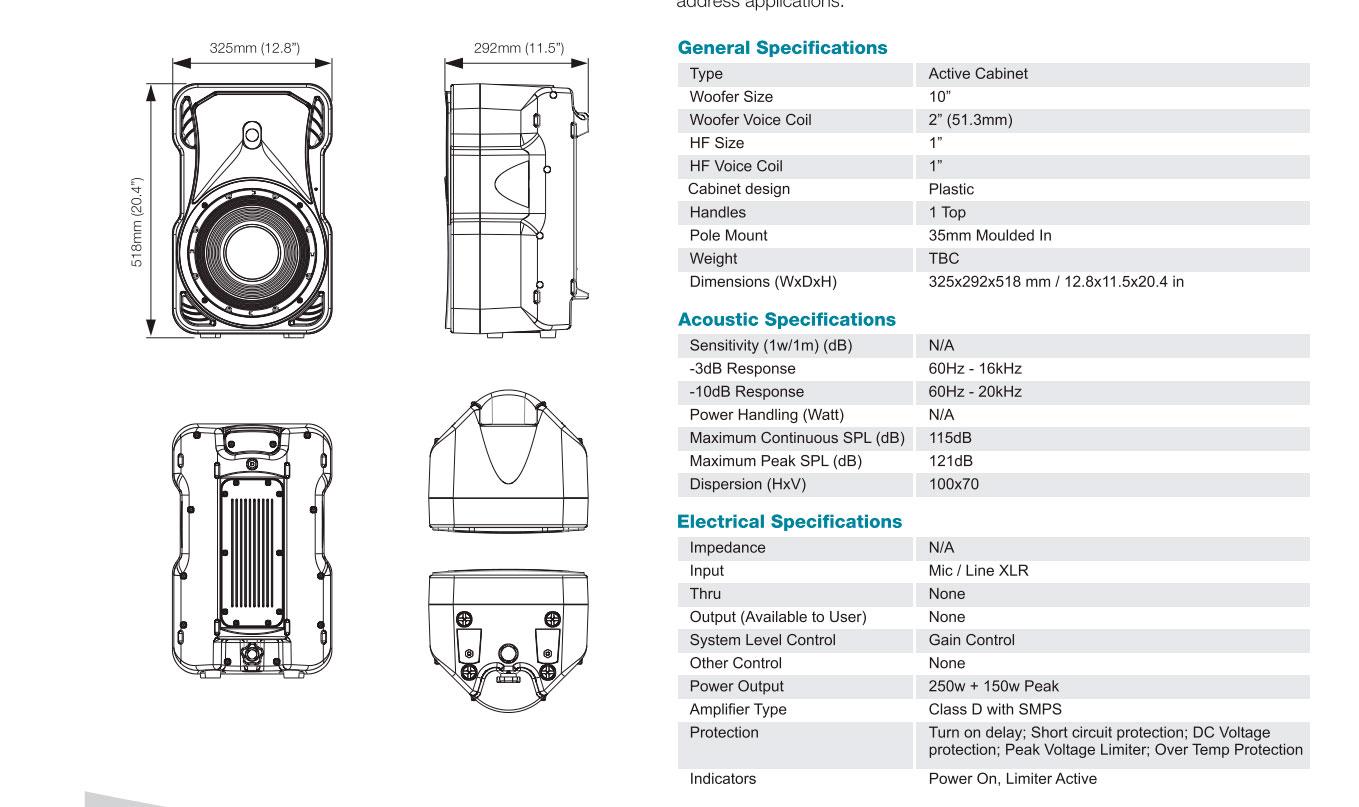 Cabina Activa P Audio X7-10A 400w