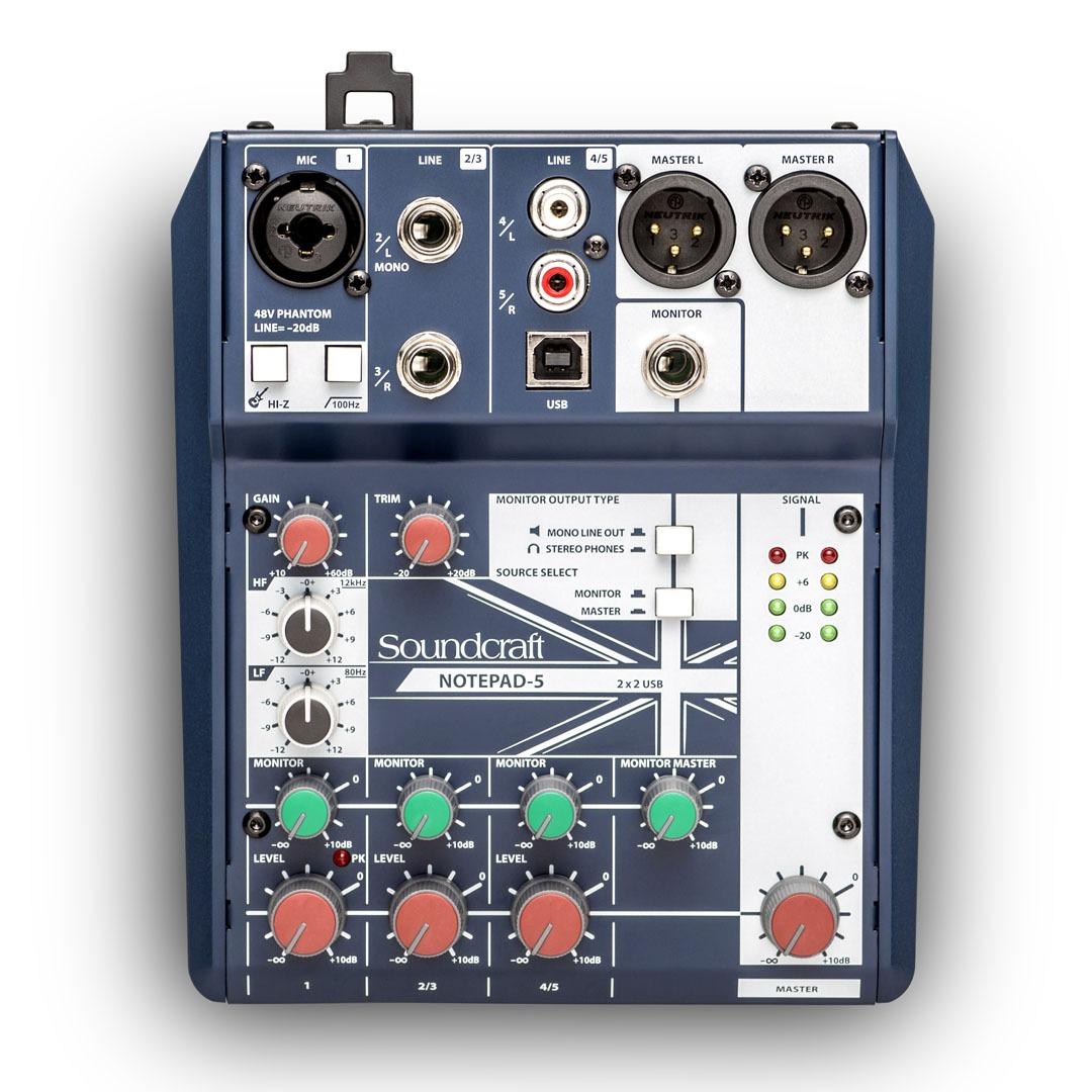Consola Mezcladora con interfaz USB Soundcraft Notepad-5